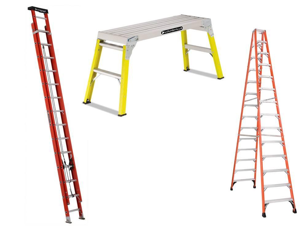 Best Fiberglass Ladder - a work platform, an extending ladder, and a twin-front ladder