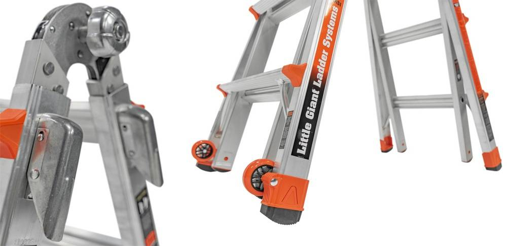 Little Giant Ladder System 12017 comes with Quad-Lock hinges, spring-assisted Rock Lock & Tip & Glide Wheels