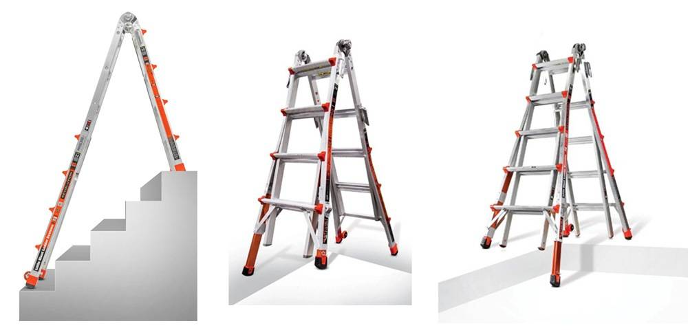 Little Giant Ladder System 12017 comes with wide flared legs for better stability on uneven ground