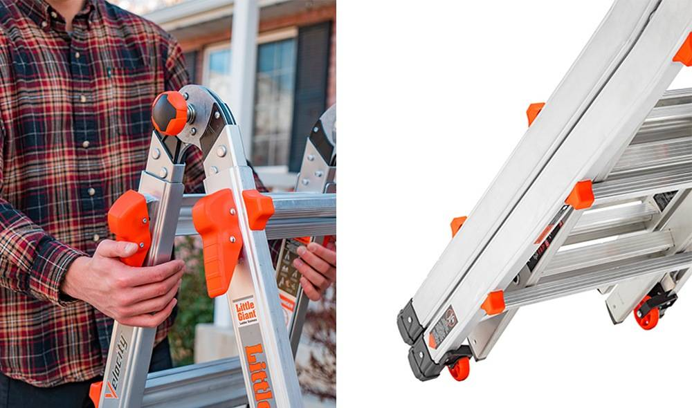 Little Giant Ladder Systems 15422-001 comes with the Rock Lock system, tip & glide wheels
