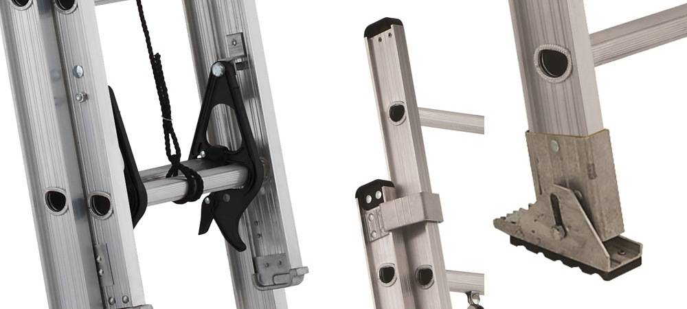 Louisville Ladder AE2216 comes with a Quick-Latch Rung Lock, the Safety Shoes anf the I-beam side rails