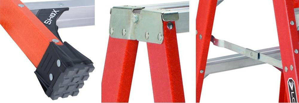 Louisville Ladder FM1414HD comes with heavy gauge steel hinges, inside spreader braces and rubber feet