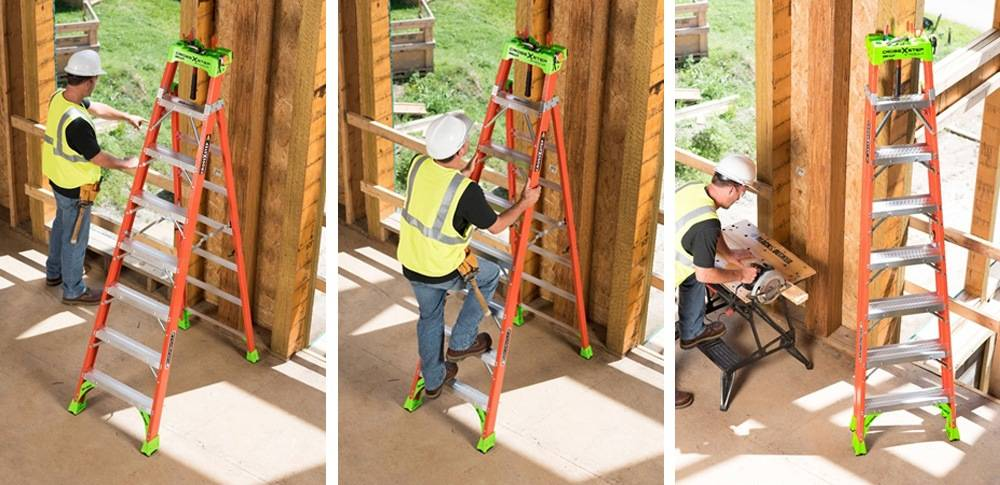 Louisville Ladder FXS1508 can be converted into a step ladder and also into a shelf ladder