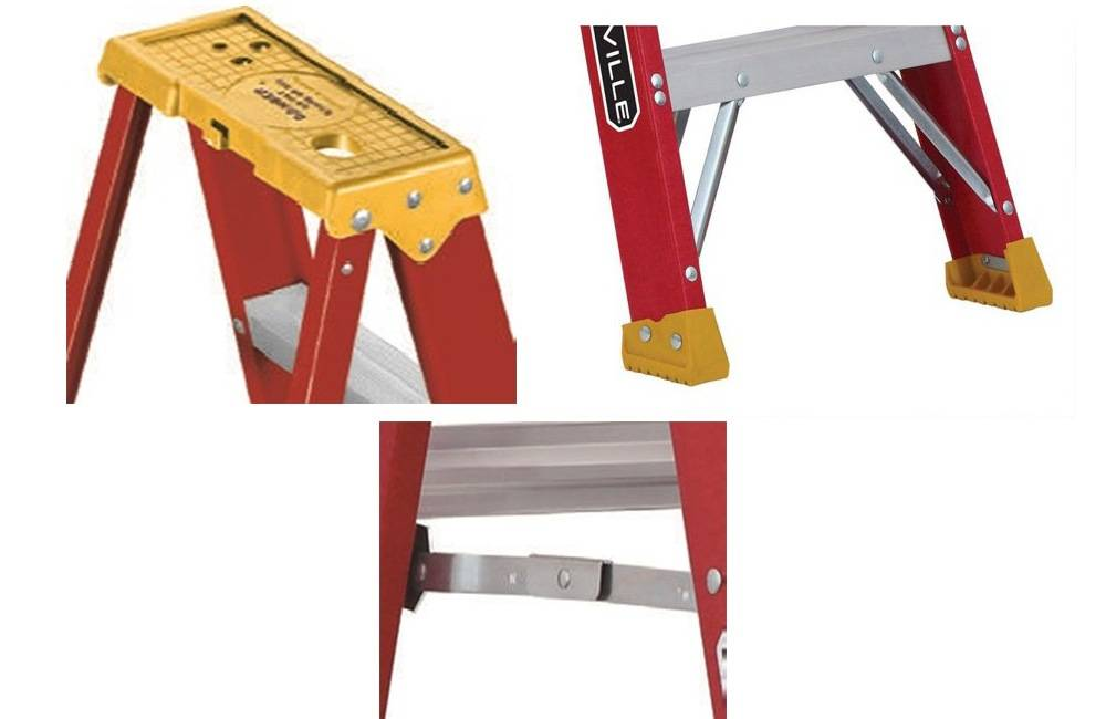 Louisville Ladder L-3016-04 has an inside spreader braces, a slip-resistant boot and Pro Top system