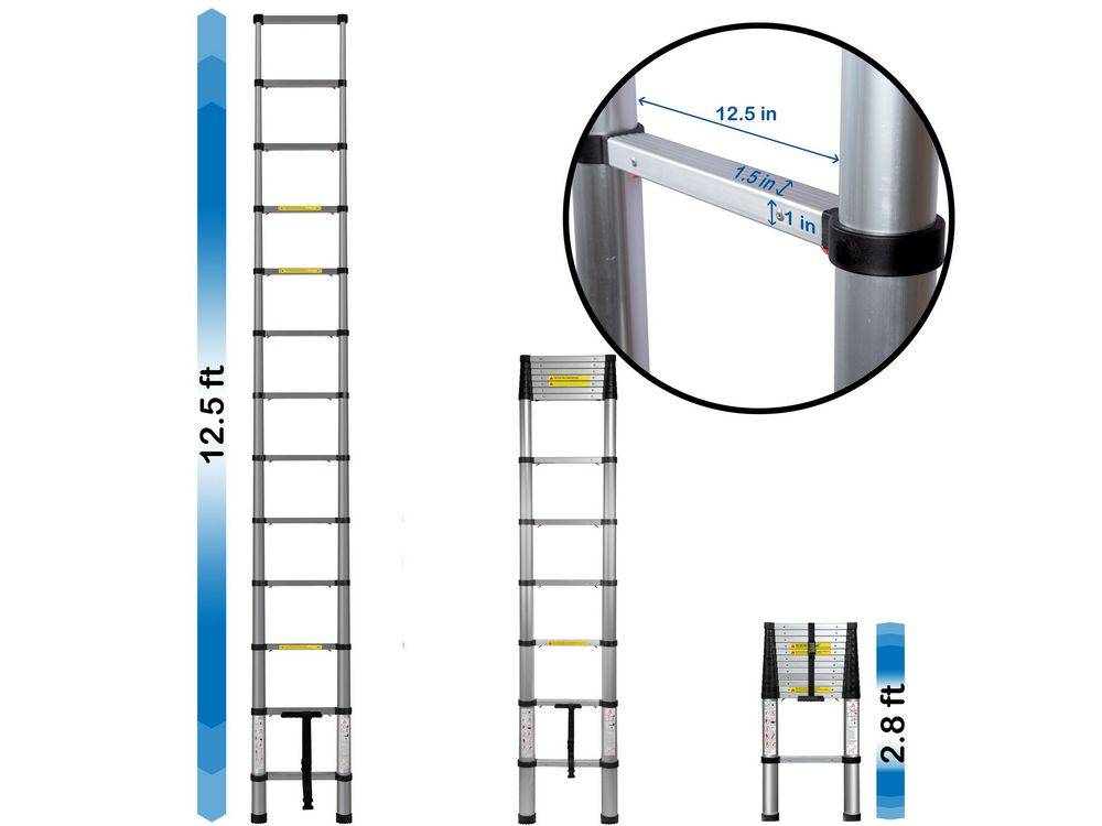 OxGord LDAL-TS02-12-NEW ladderextends up to 12.5 feet