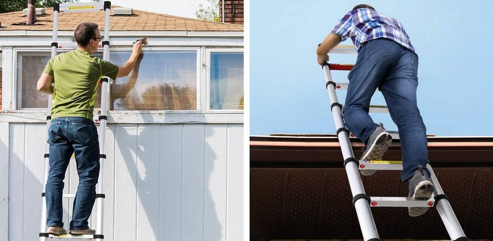 The telescoping ladders are great for use around the house