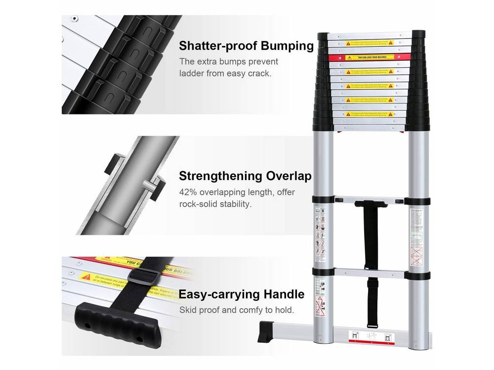 WolfWise VILP230011EPE ladderhas a shatter-proof bumping and an easy-carrying handle