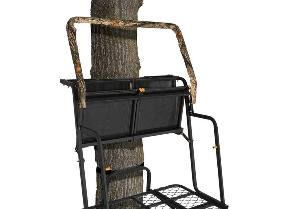 Muddy MUD-MLS2300 2-Man Ladderstand Both the seats and shooting rail flip back out the way for bowhunting